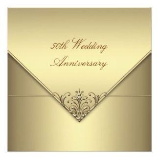 Elegant Simple Pure Gold 50th Wedding Anniversary 13 Cm X 13 Cm Square Invitation Card