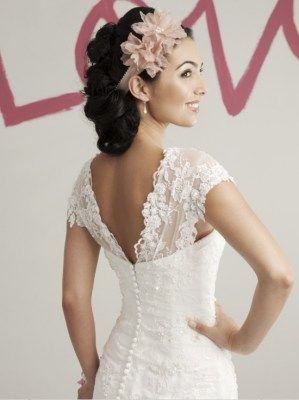 Dropped waist wedding attire with lace bodice and tulle skirt, Sweetheart -5972