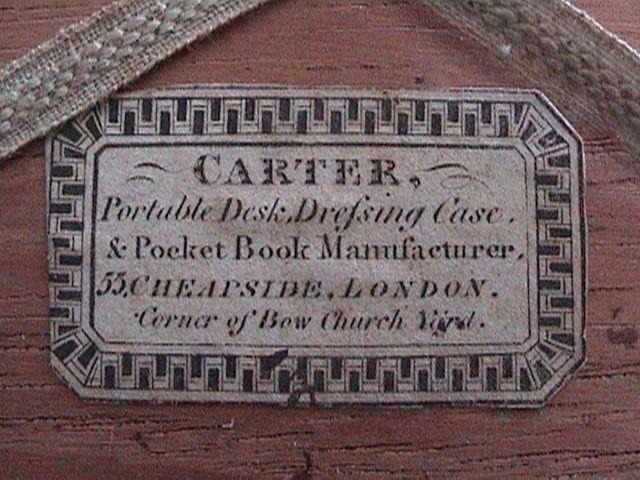 Georgian Writing Slope 1810 Label