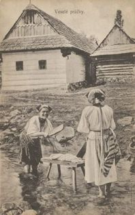Washing laundry wasnt comfortable but woman is smiling....so? ..old times in Slovakia....