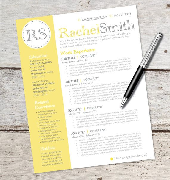 instant download resume design template microsoft word editable yellow black