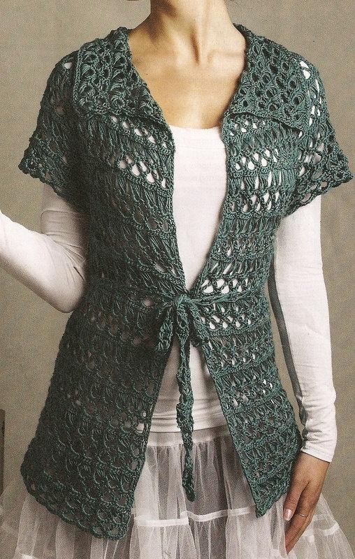 Crocheted Lace Cardigan/Tunic Deep Jade by HeirloomsbyAntonia. $65.00, via Etsy.: Swimkittencom Lookbook