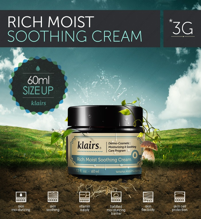 [Klairs] Rich Moist Soothing Cream $23.99 45ml >>> 60ml SIZE UP ! Klairs Rich Moist Soothing Cream, Magical cream that instantly makes the skin feel softer and replenished ! WE ALSO RECOMMEND : [Klairs] Supple Preparation Facial Toner [Klairs] Rich Moist Soothing Serum Brand : Klairs All Skin Types Volume : 60ml Made in Korea