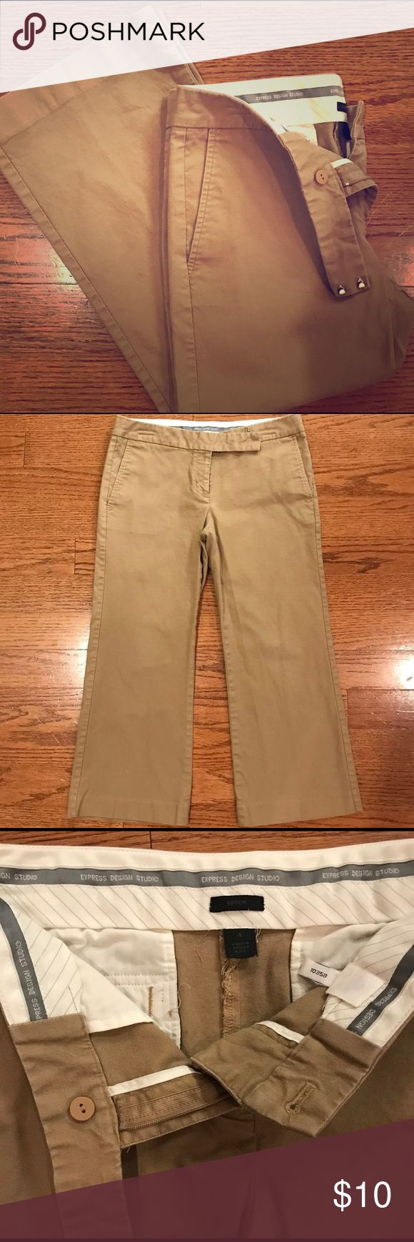 Express Design Studio Cropped Khaki Capris Express Design Studio  Size 4  Great condition  No signs of tears, stains, snags  Perfect for casual days or dressy it up Express Pants Capris