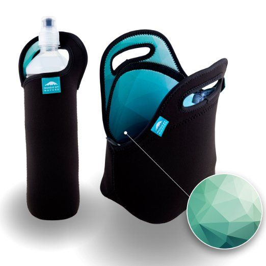 Amazon.com: Insulated Neoprene Lunch Set: Lunch Bag + Water Bottle Sleeve   Lightweight With Rugged Zipper & Space for Larger Lunches   Washable, Nontoxic, Black with Camo Interior by Nordic By Nature: Kitchen & Dining