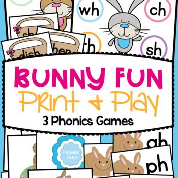 Digraphs Literacy Centers & Activities & Games - Bunny Fun