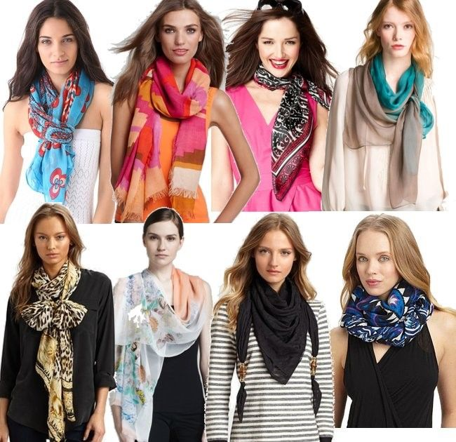 scarves in different color