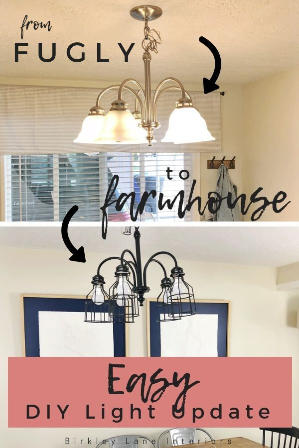 From Fugly To Farmhouse Chandelier Makeover Diy Kitchen