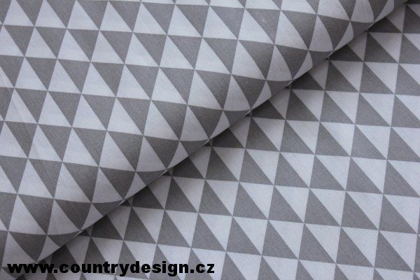 Bavlněná látka : Triangles > varianta Grey
