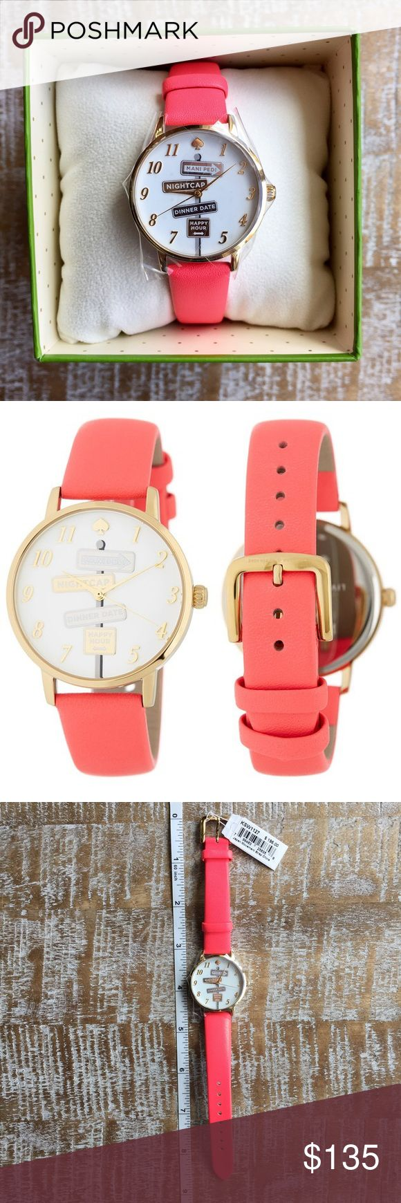 Kate Spade Watch ♠️ Brand new with tags! Kate Spade women's metro leather watch! The pink strap is leather and 3/5 of an inch wide. The case is 34mm and 8mm thick. Movement = quartz. Crystal = mineral. Case material = stainless steal. Water resistance 30meters. Comes in box with care booklet! kate spade Accessories Watches