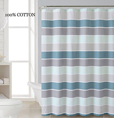 100 Cotton Fabric Shower Curtain Stripe Design Teal Blue White Silver And Gray Victoria