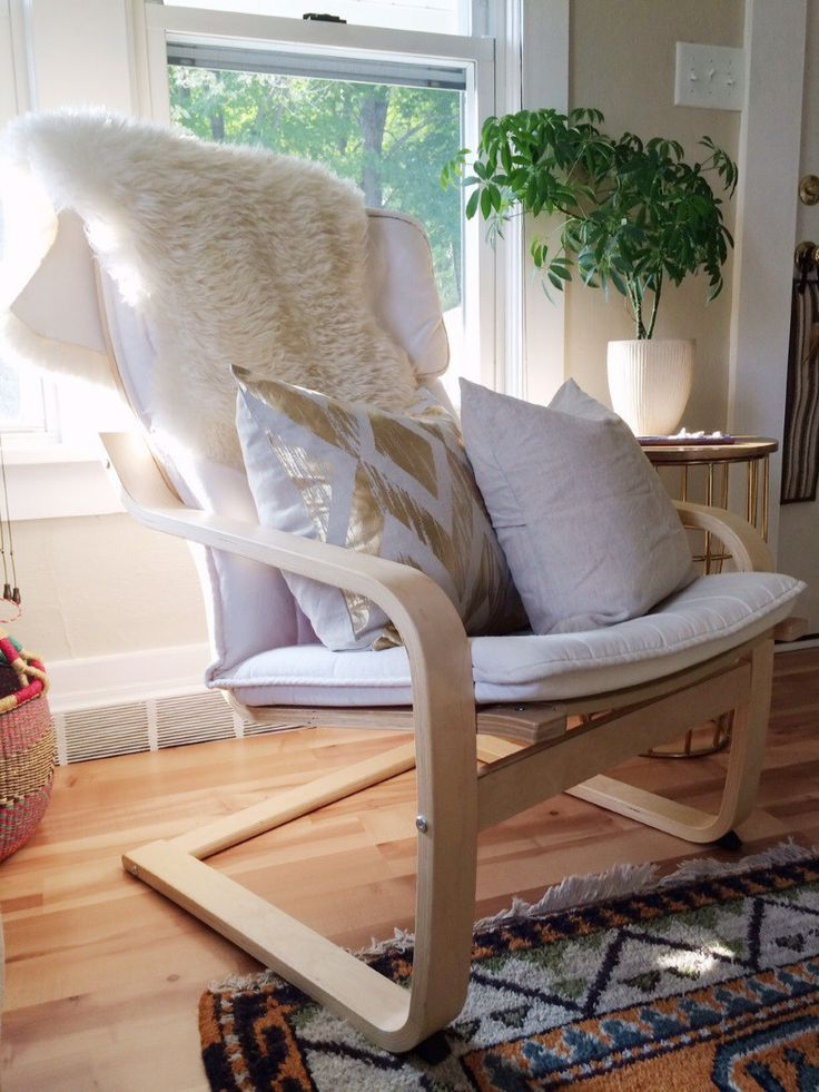 ikea poang chair (white and gray)