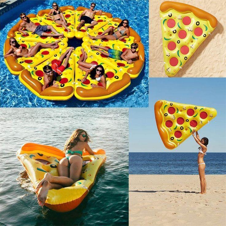 Riesenpizza: Cool im Pool - Spaß im Sommer: Luftmatratze mal anders. Mit der Pizza machst Du am Strand eine gute Figur. Ein echter Hingucker! Ob am See, im Pool oder am Meer: der ultimative Badespaß für alle Altersgruppen ist bei dem aufblasbaren Wasserschwimmer-Pool-Spielzeug vorprogrammiert. Und jeder bitte nur ein Pizzastück nehmen…