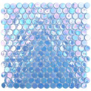 Periwinkle Blue Iridescent Circle Penny Round Glass Mosaic Tile #tile #iridescent #bathroom