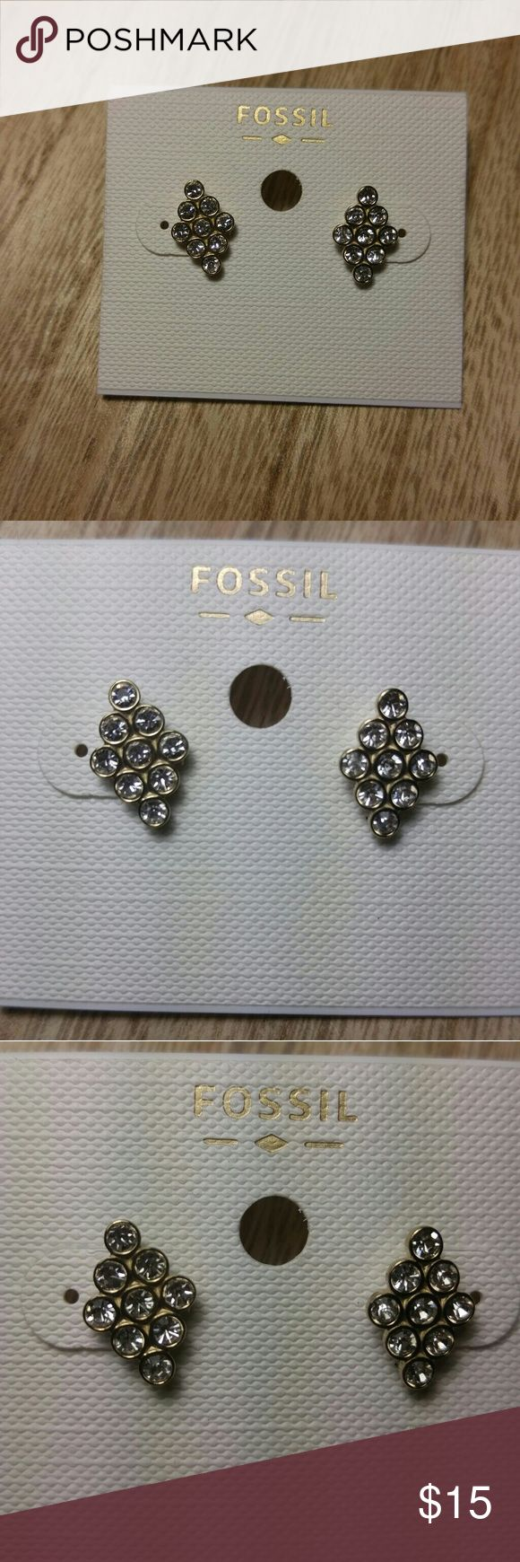 Fossil Earrings Gold stainless steel fossil earring studs with cubic zirconia Fossil Jewelry Earrings