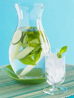 Sip Super Water: add five mint leaves and 10 thin cucumber slices to a pitcher of water!  Mint oil helps flush away complexion-dulling toxins, and vitamins A and C in cukes keep skin healthy. A super refreshing drink and makes you feel like your at the spa :)