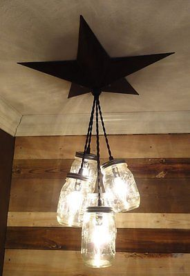 Mason Jar Chandelier Barn Star - Country Rustic Primitive Pendant Light - 5 Jars