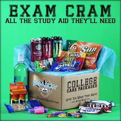 """""""Exam Cram"""" Starbucks Refreshers, 5-hour energy... minus the rest. Vitamin water, restaurant gift card for the after celebration, protein bars, highlghters,"""