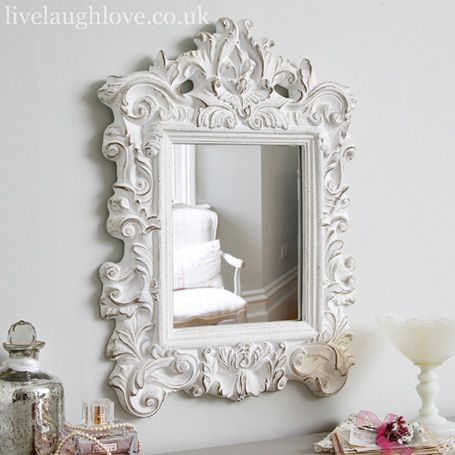 french style mirror, shabby chic mirror, vintage mirror, wall mirror, painted mirror