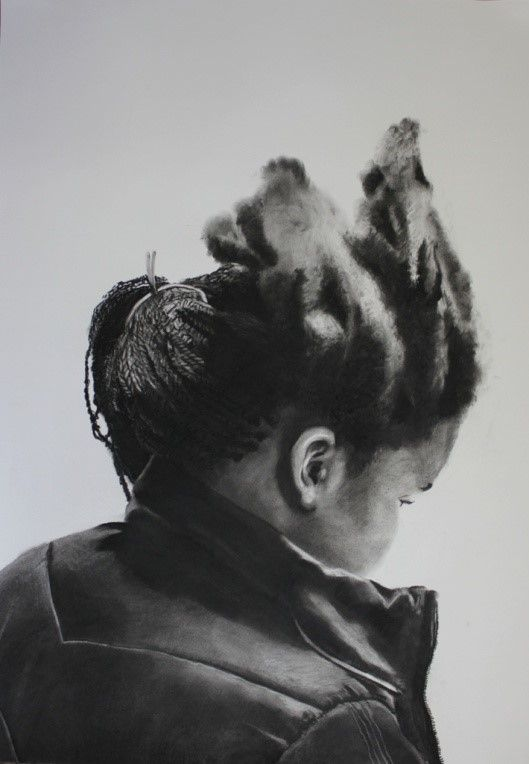 """Tanya Poole """"Hlumi's Half-Time at the Salon"""" from The Becoming Child series. 2013, charcoal on Cannaletto"""