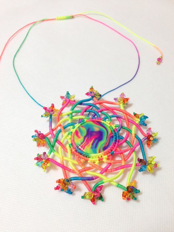 Rainbow Flower Micro Macrame Necklace with Beads and by DSfashion