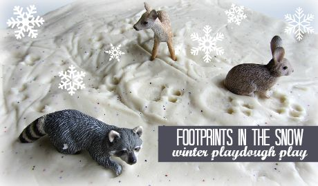 Animal tracks in snow playdough - fun winter activity for preschool : No Time for Flashcards