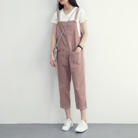 61f5888d6b4 Women Pants Rushed Mid 2017 Spring New Korean Corduroy Women Bib Girl Harem Pure  Female Pants Nine Loose Thin Suspenders Brand