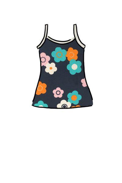 Girls Cami vest organic cotton Flower Power
