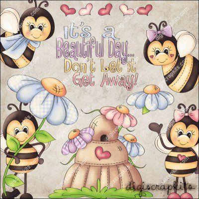 Spring Bees 1 Clip Art Set