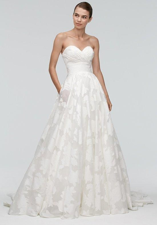 Watters Brides strapless ball gown with floral embellishments Judith