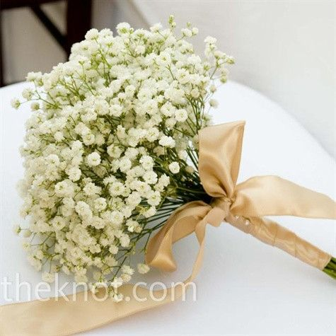 Baby's breath wedding bouquets are widely popular in rustic chic weddings for its light, whimsical style as well as very low cost.  Buy Baby's Breath (Gypsophilia) in bulk to achieve this look for your entire bridal party/wedding.  #weddingbouquet #babysbreath #gypsophilia