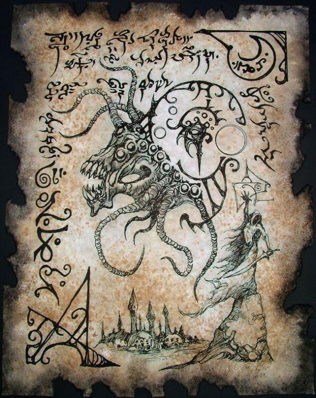 Dark Art ¦ Cthulhu Mythos books example pages similar to Necronomicon