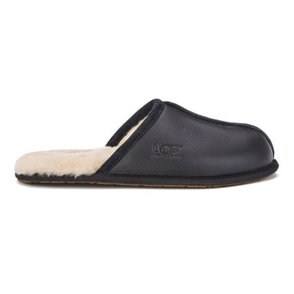 UGG Men's Scuff Leather Sheepskin Slippers ($93) ❤ liked on Polyvore featuring men's fashion, men's shoes, men's slippers, black, mens slippers, ugg mens slippers, mens leather shoes, mens sheepskin shoes and mens fur lined shoes