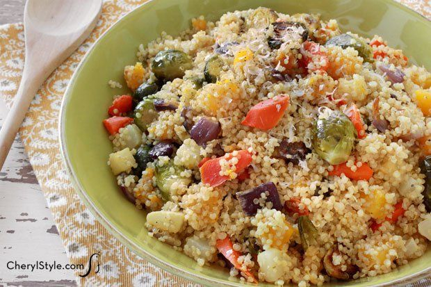 This quinoa with roasted vegetables recipe is vegetarian and gluten-free! It's a healthy, versatile option to serve friends and family for lunch or dinner!