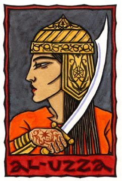 """Al-Uzza (""""The Most Mighty"""") is a pre-Islamic Arabian goddess, the virgin warrior and youngest in the triad of goddesses with Menat (""""Time"""", the Death or Fate goddess, sometimes--I think erroneously--called the Goddess of the Full Moon, since the Moon in Arabia was masculine) and Al Lat (whose name means """"The Goddess"""", as Al Lah means """"The God"""")."""