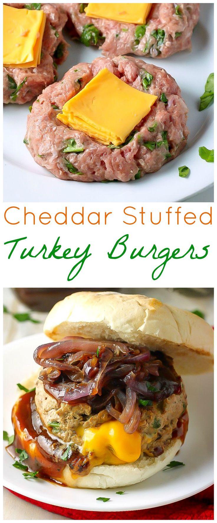 Cheddar Stuffed BBQ Turkey Burgers