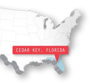 Getting There Cedar Key is located approximately 55 miles southwest of Gainesville, 135 miles northwest of Orlando and 150 miles north of Tampa. From Interstate 75, take state Route 24 west. The town of Cedar Key is on Way Key, the only inhabited island in the chain of low-lying keys.
