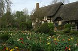 Anne Hathaway's Cottage - An Early Glimpse of Shakespeare in Love: English Cottage Garden surrounding Anne Hathaways Cottage near Stratford-upon-Avon