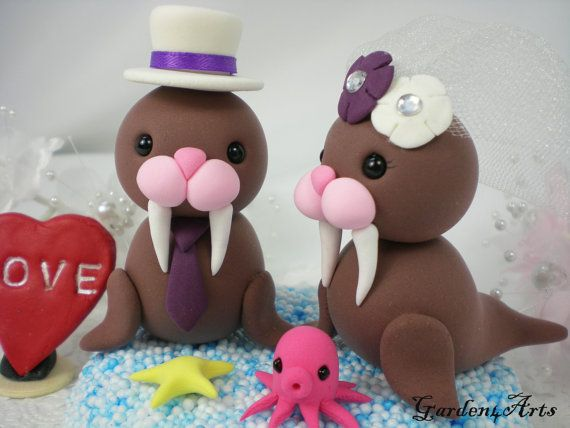 Walruse Love Wedding Cake Topper with Ocean Base and Tiny Octopus/Starfish-for Summer Beach Wedding
