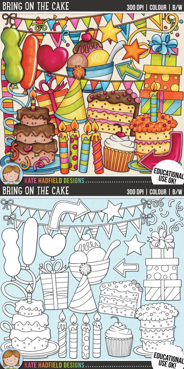 Birthday party clip art for teachers! | Contains coloured clipart and black and white outlines at 300 dpi for highest quality printing for your resources and projects! | Hand-drawn clip art by Kate Hadfield Designs at Teachers Pay Teachers