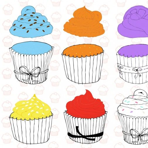 cupcake  color matching free printable for kids