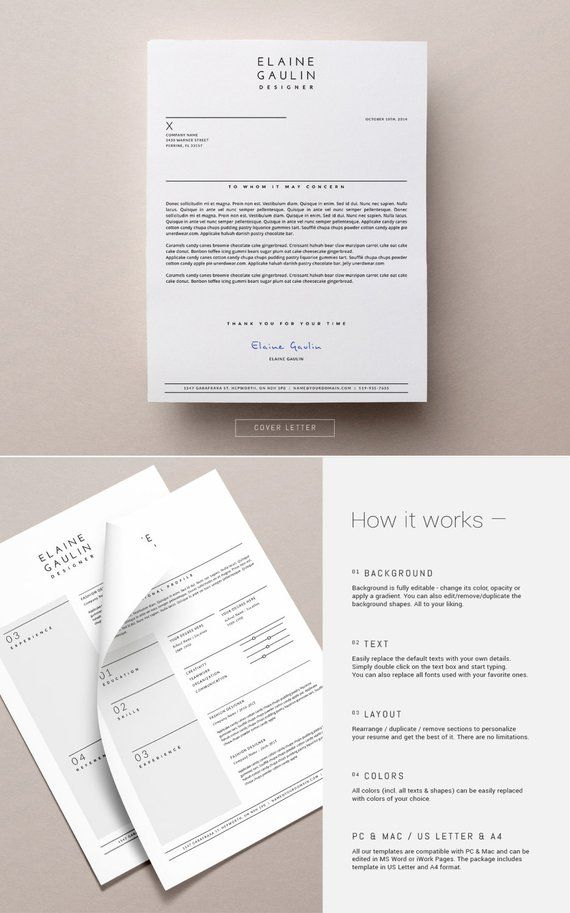 Simple Resume Template Cover Letter For Word Pages