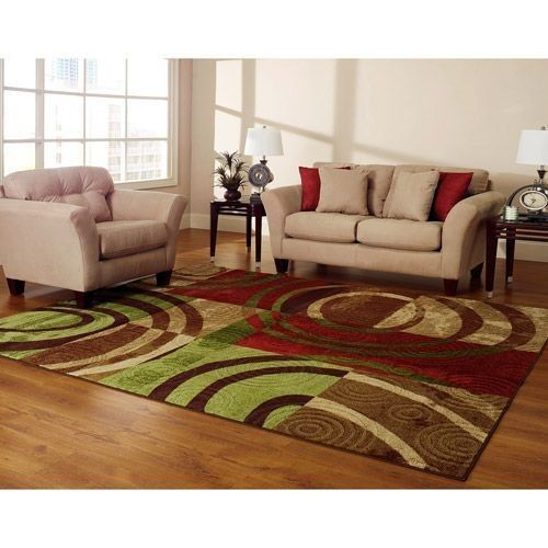 New Beige Green Tan Cream Red Geometric Area Rug Living Room Bedroom Home Decor