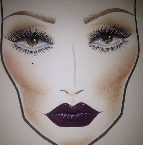 face chart | Tumblr #purple lips and #lashes #makeup. This is is my kind of makeup!