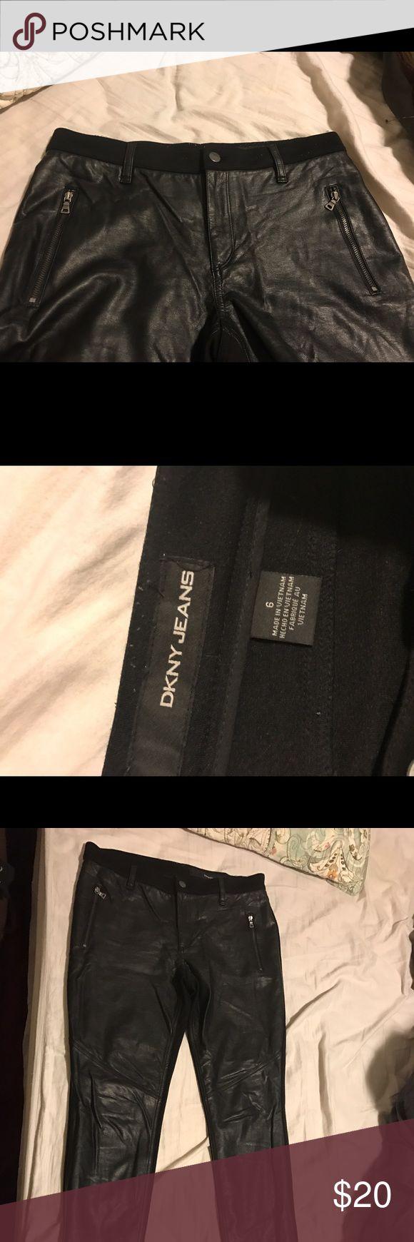 Dkny faux leather skinny pants Dkny brand, faux leather front. Faux leather belt loops. DKNY Pants Skinny