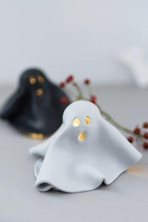 Basteln für Halloween: Leuchtende FIMO Geister