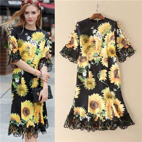 2017 Womens Sunflower Dresses Runway Dresses Women High Quality Spring Dress Runway Mermaid Dress Robe Courte Vintage Vestidos