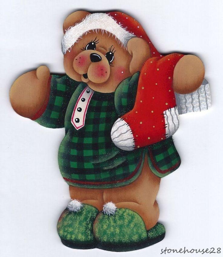 HP TEDDY BEAR with Stocking FRIDGE MAGNET #Handpainted