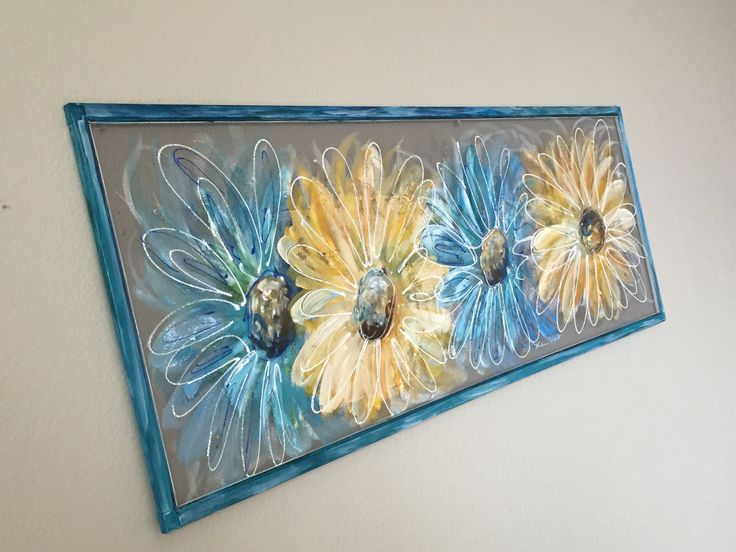 "Recycled Old window Screen hand painting "" Flowers""Blue and Yelow Original Art hand painted screen by RebecaFlottArts on Etsy"