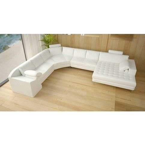 Tosh Furniture Modern White Leather Sectional Sofa | Living Room Warehouse